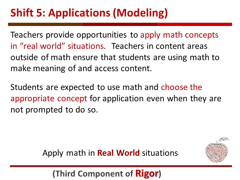 Shift 5: Applications (Modeling) Students are expected to use math and choose the appropriate concept for application even when they are not prompted