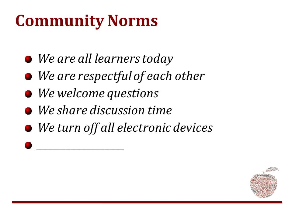 Community Norms We are all learners today We are respectful of each other We welcome questions We share discussion time We turn off all electronic dev