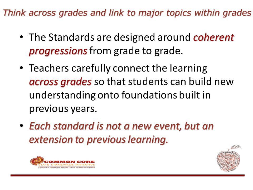coherent progressions The Standards are designed around coherent progressions from grade to grade. across grades Teachers carefully connect the learni