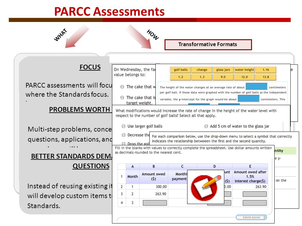 PARCC Assessments WHAT PROBLEMS WORTH DOING Multi-step problems, conceptual questions, applications, and substantial procedures will be common, as in