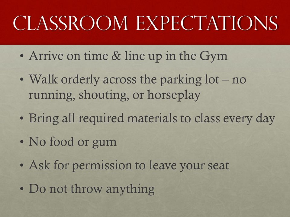 Classroom Expectations Arrive on time & line up in the GymArrive on time & line up in the Gym Walk orderly across the parking lot – no running, shouting, or horseplayWalk orderly across the parking lot – no running, shouting, or horseplay Bring all required materials to class every dayBring all required materials to class every day No food or gumNo food or gum Ask for permission to leave your seatAsk for permission to leave your seat Do not throw anythingDo not throw anything