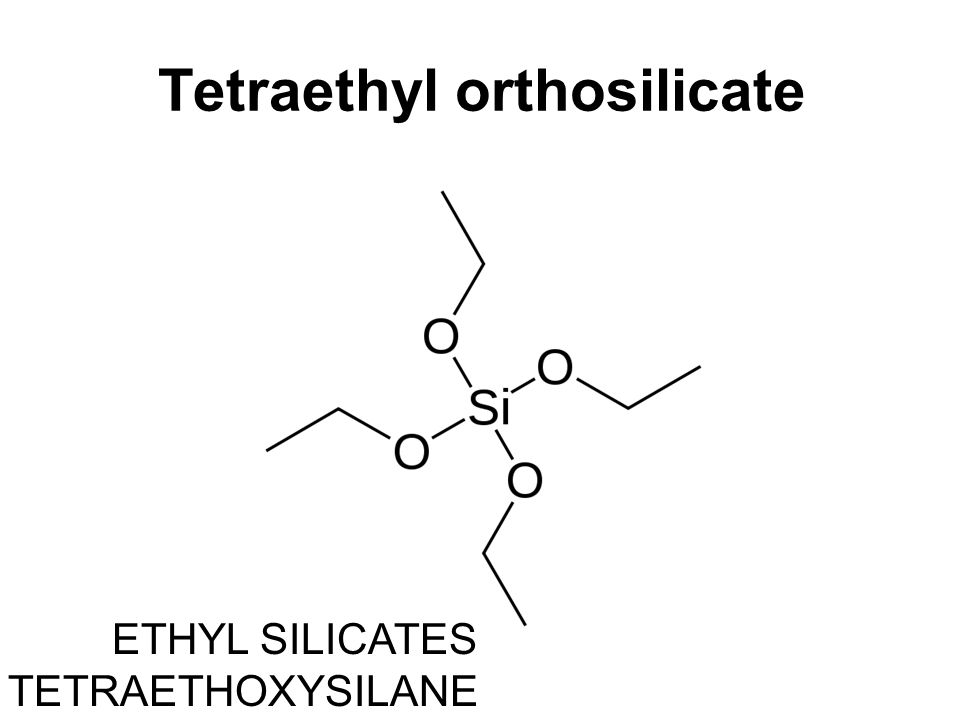 Manufacture TEOS, Si(OC2H5)4, is synthesized in one of two common ways: Firstly, directly from silicon metal and anhydrous ethyl alcohol: Si + 4C2H5OH ─catalyst→ Si(OC2H5)4 + 2H2 ↑ Secondly, from silicon tetrachloride and anhydrous ethyl alcohol: SiCl4 + 4C2H5OH → Si(OC2H5)4 + 4HCl ↑