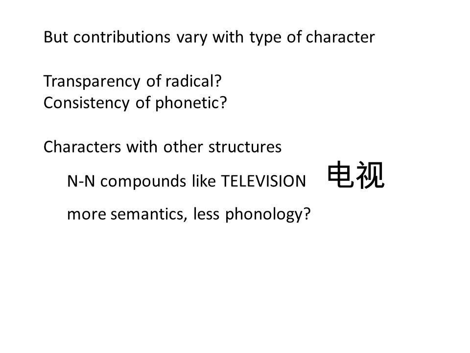 But contributions vary with type of character Transparency of radical.