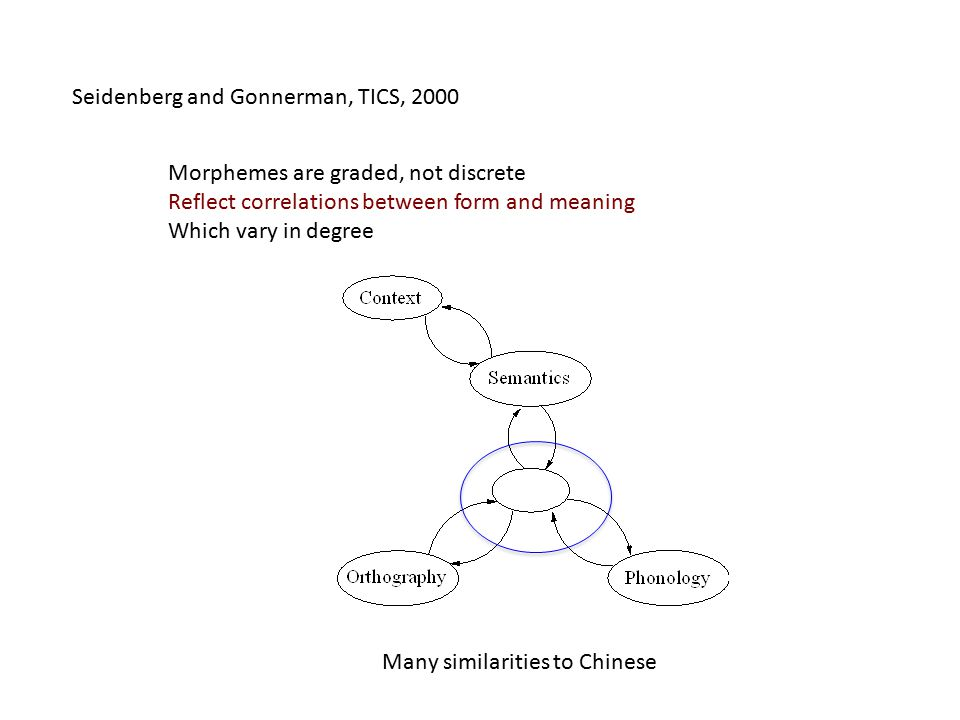 Seidenberg and Gonnerman, TICS, 2000 Morphemes are graded, not discrete Reflect correlations between form and meaning Which vary in degree Many similarities to Chinese