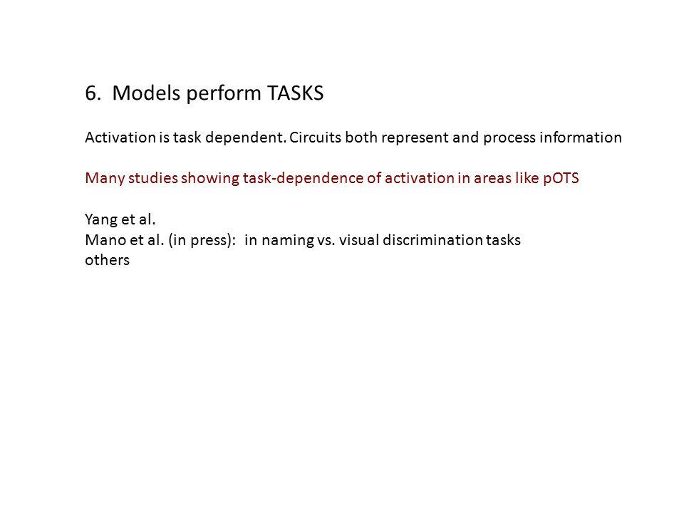 6. Models perform TASKS Activation is task dependent.