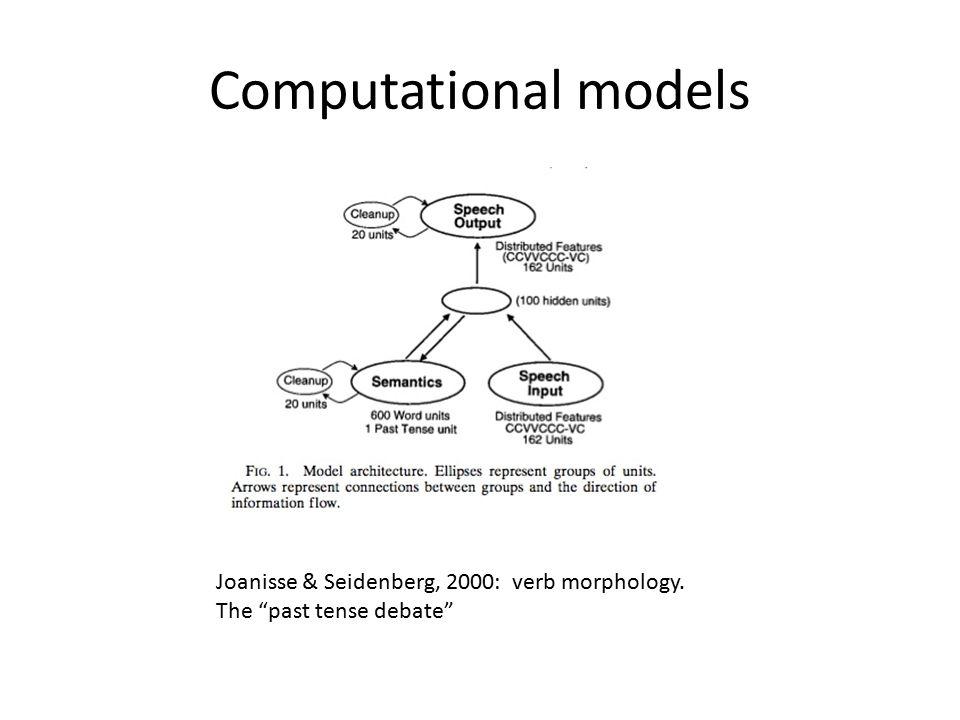 Computational Models Harm & Seidenberg, 2004: computing MEANING