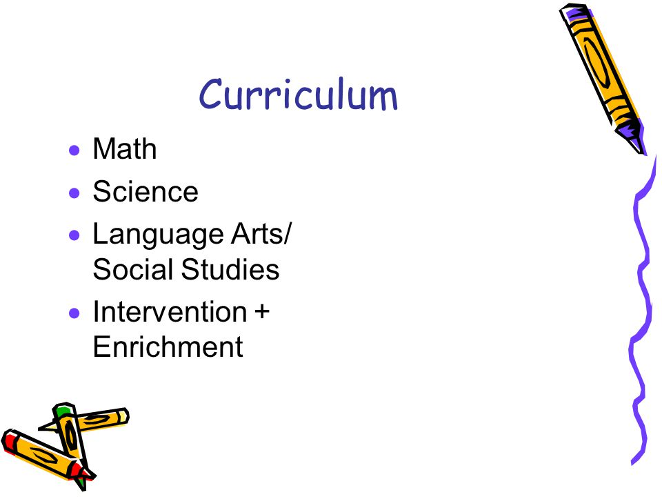 Curriculum  Math  Science  Language Arts/ Social Studies  Intervention + Enrichment