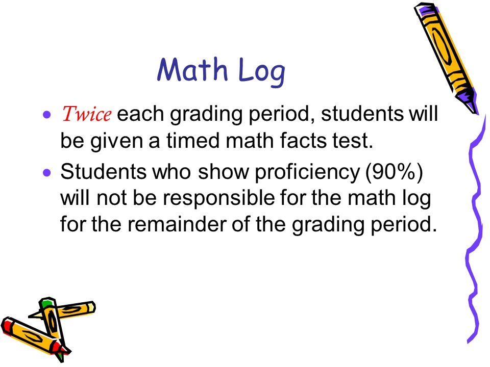 Math Log  Twice each grading period, students will be given a timed math facts test.  Students who show proficiency (90%) will not be responsible fo