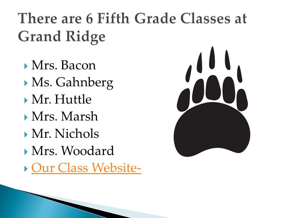  Mrs. Bacon  Ms. Gahnberg  Mr. Huttle  Mrs. Marsh  Mr. Nichols  Mrs. Woodard  Our Class Website- Our Class Website-