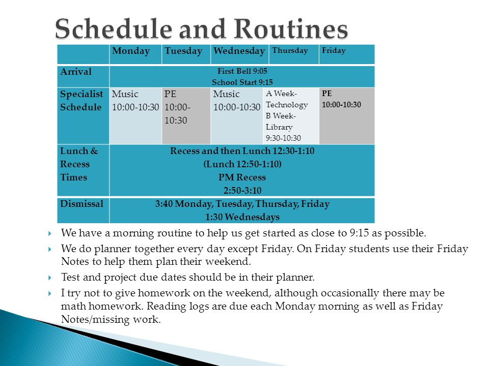  We have a morning routine to help us get started as close to 9:15 as possible.  We do planner together every day except Friday. On Friday students
