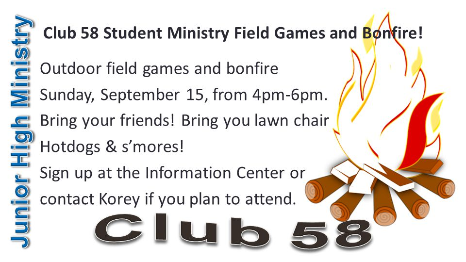 Club 58 Student Ministry Field Games and Bonfire.