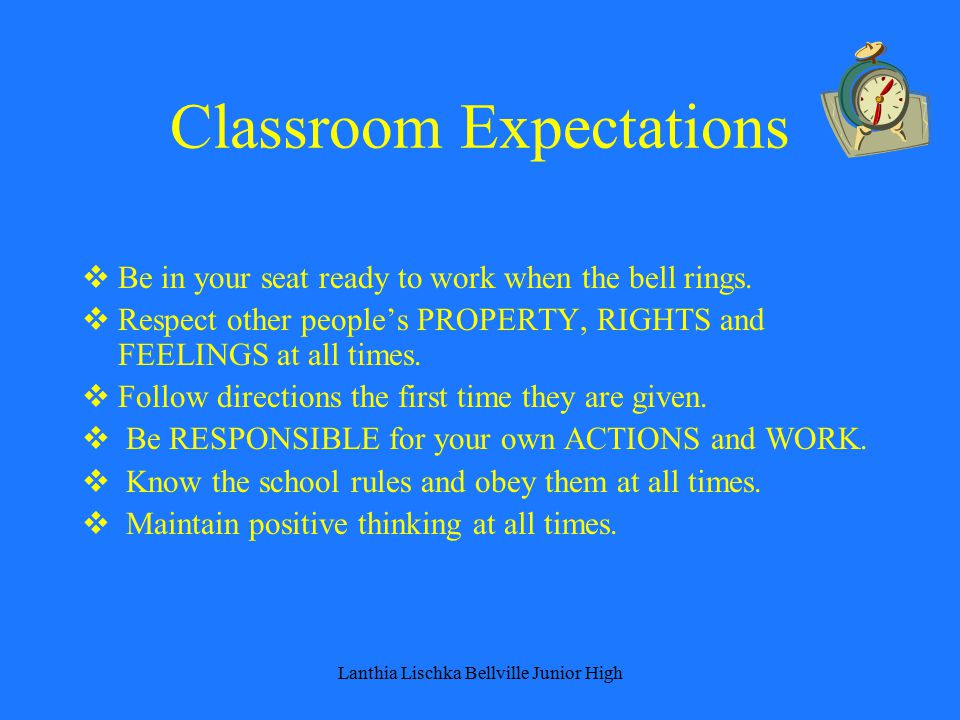 Classroom Expectations  Be in your seat ready to work when the bell rings.