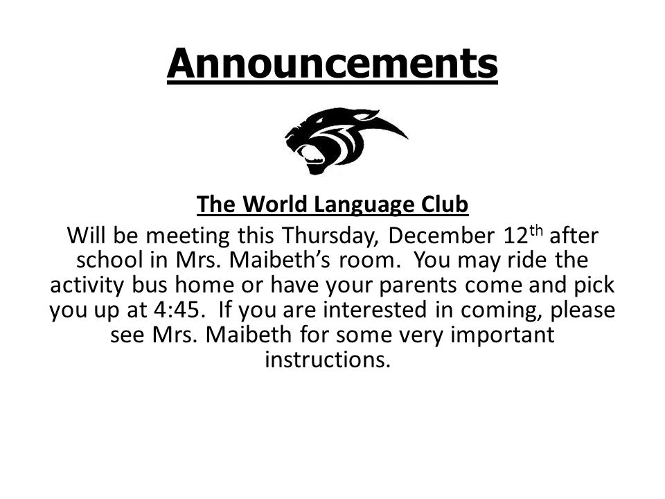 Announcements Parkside Players The first Cast Meeting for Guys and Dolls will be held Tuesday, December 17, 2013 in Mrs.