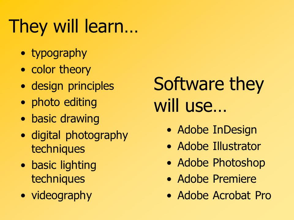 They will learn… Adobe InDesign Adobe Illustrator Adobe Photoshop Adobe Premiere Adobe Acrobat Pro typography color theory design principles photo editing basic drawing digital photography techniques basic lighting techniques videography Software they will use…