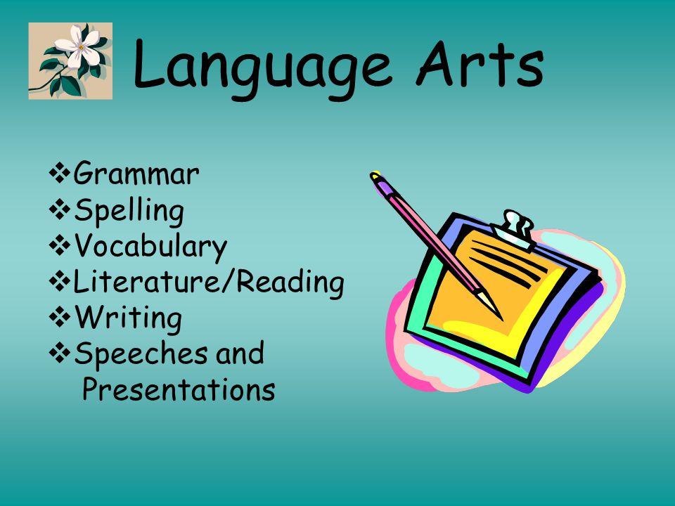 Language Arts  Grammar  Spelling  Vocabulary  Literature/Reading  Writing  Speeches and Presentations