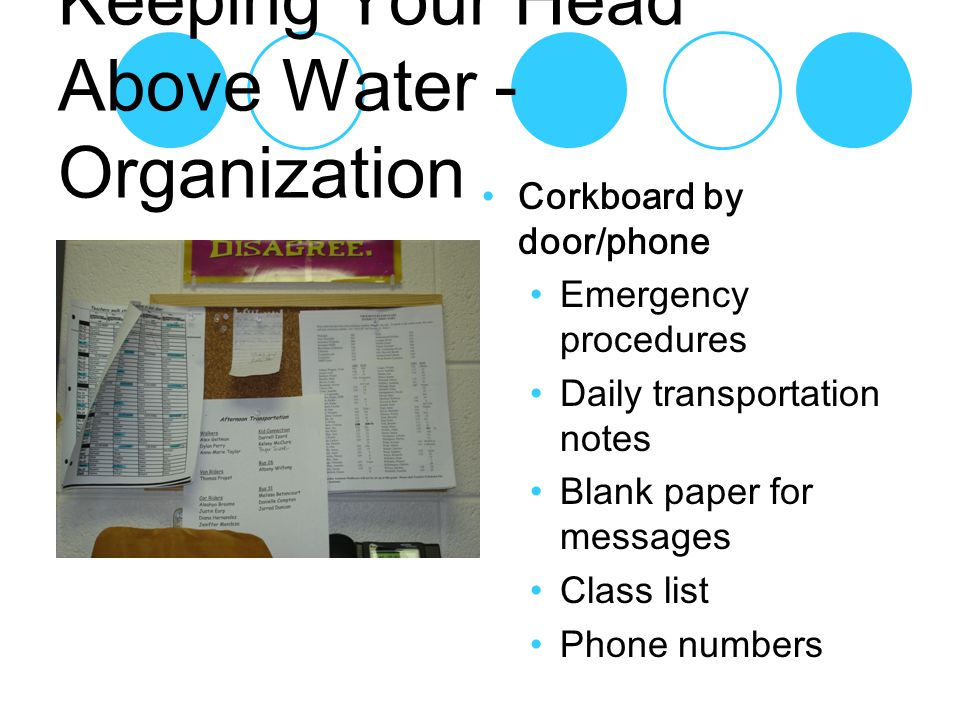 Corkboard by door/phone Emergency procedures Daily transportation notes Blank paper for messages Class list Phone numbers Keeping Your Head Above Water - Organization