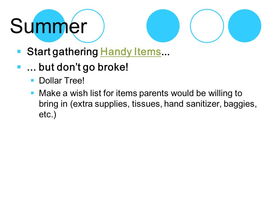 Summer  Start gathering Handy Items...Handy Items ...