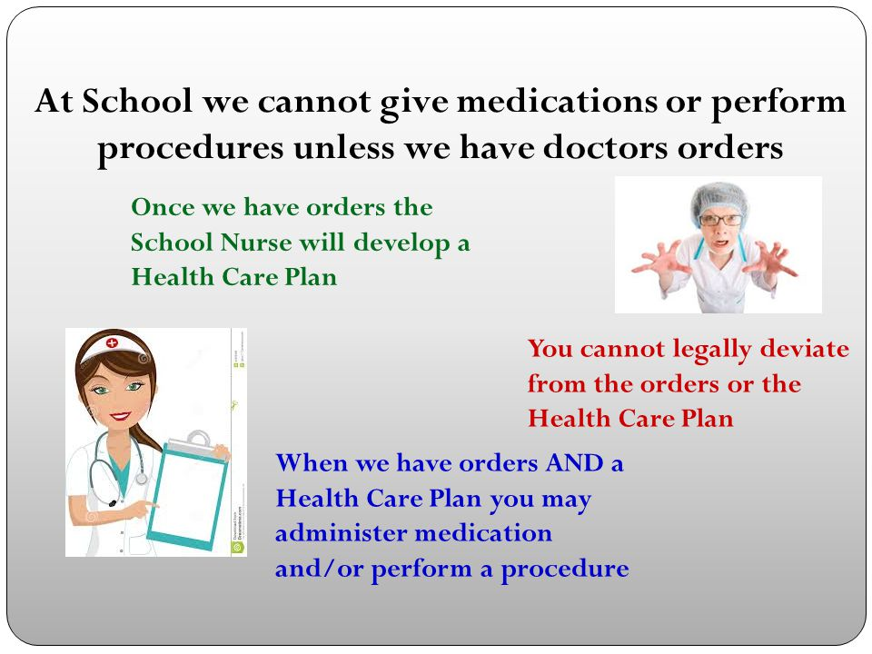 At School we cannot give medications or perform procedures unless we have doctors orders Once we have orders the School Nurse will develop a Health Ca
