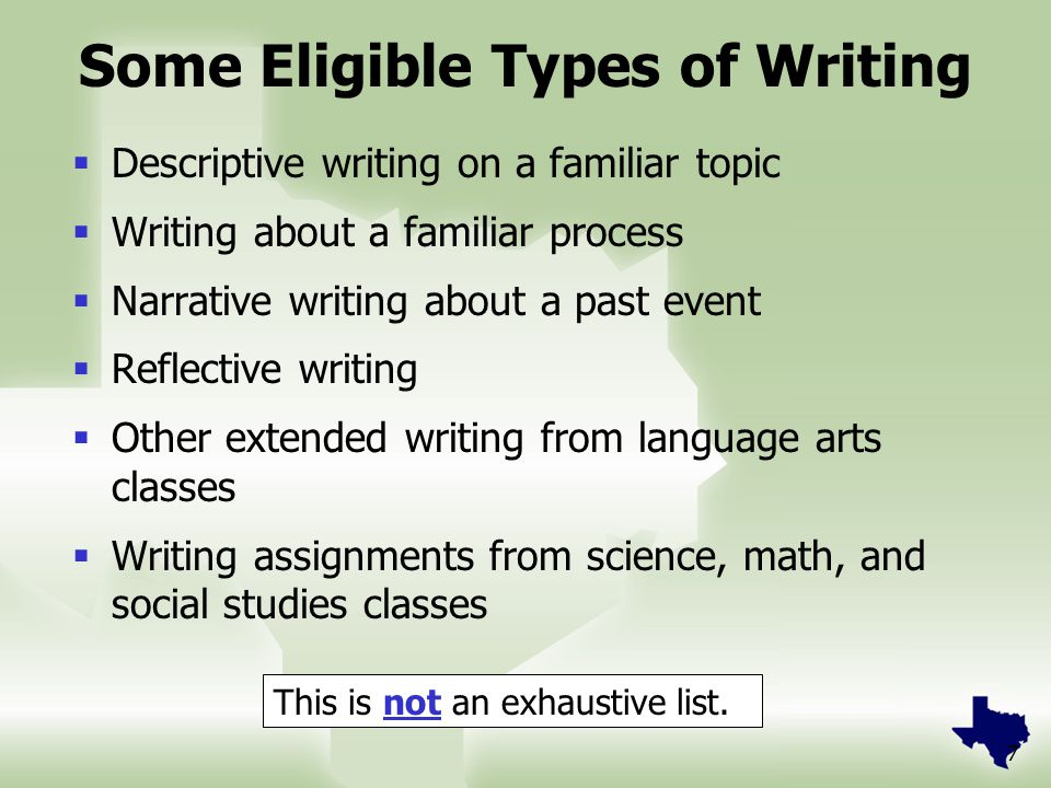 7 Some Eligible Types of Writing  Descriptive writing on a familiar topic  Writing about a familiar process  Narrative writing about a past event  Reflective writing  Other extended writing from language arts classes  Writing assignments from science, math, and social studies classes This is not an exhaustive list.