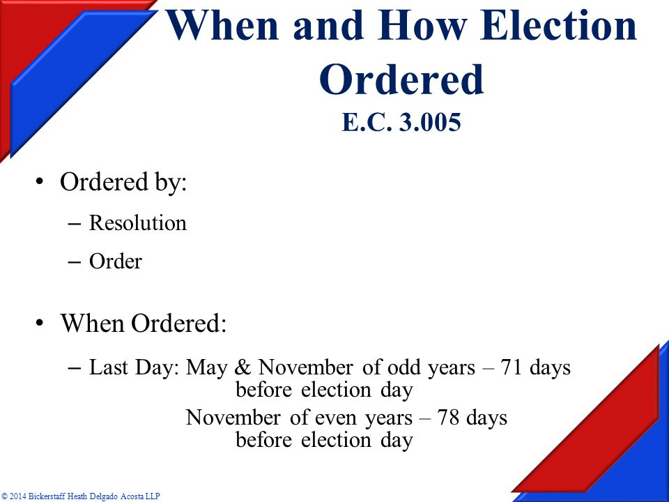 When and How Election Ordered E.C.