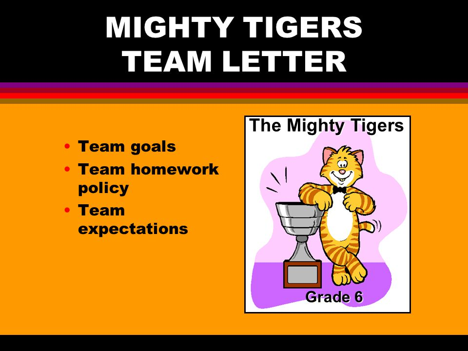 MIGHTY TIGERS TEAM LETTER Team goals Team homework policy Team expectations The Mighty Tigers Grade 6