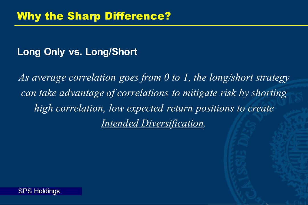 SPS Holdings Why the Sharp Difference. Long Only vs.
