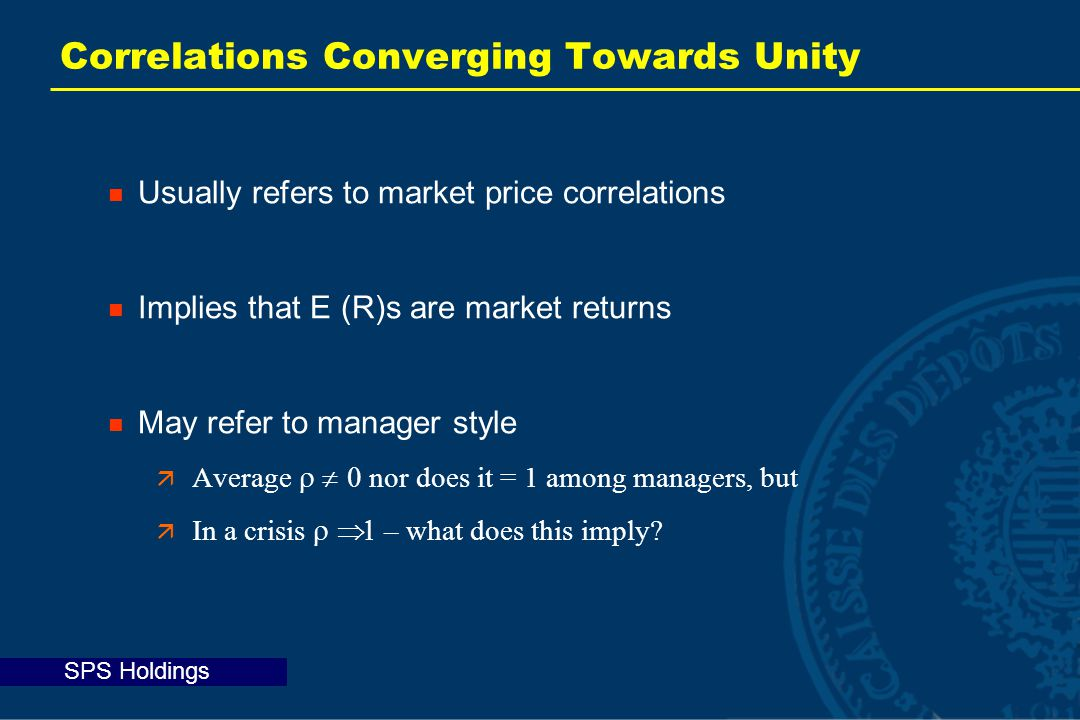 SPS Holdings Correlations Converging Towards Unity Usually refers to market price correlations Implies that E (R)s are market returns May refer to manager style  Average  nor does it = 1 among managers, but  In a crisis  – what does this imply