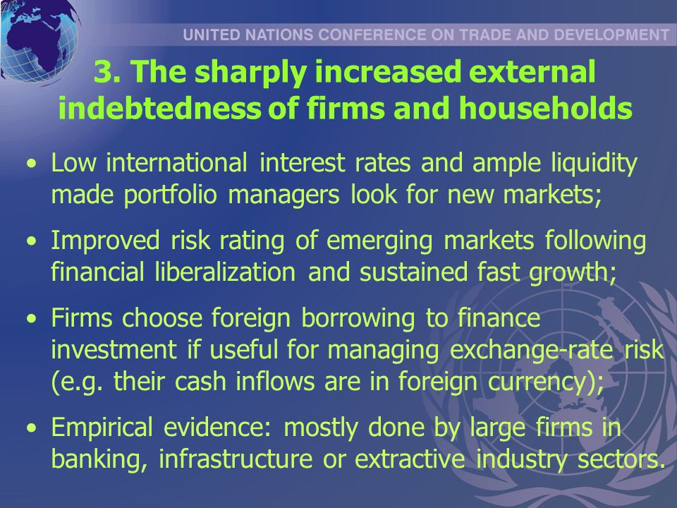 3. The sharply increased external indebtedness of firms and households Low international interest rates and ample liquidity made portfolio managers lo