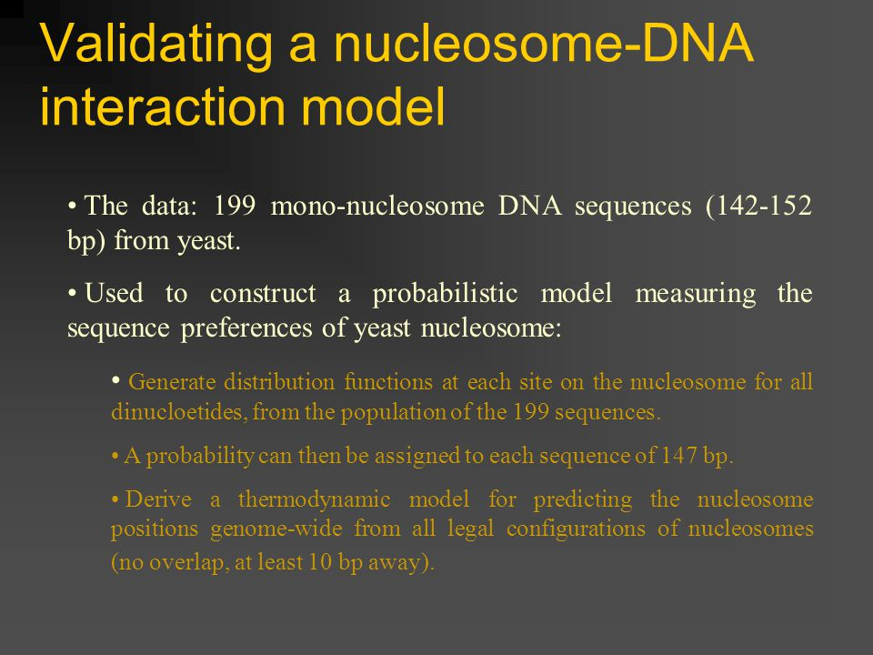 Validating a nucleosome-DNA interaction model The data: 199 mono-nucleosome DNA sequences (142-152 bp) from yeast.