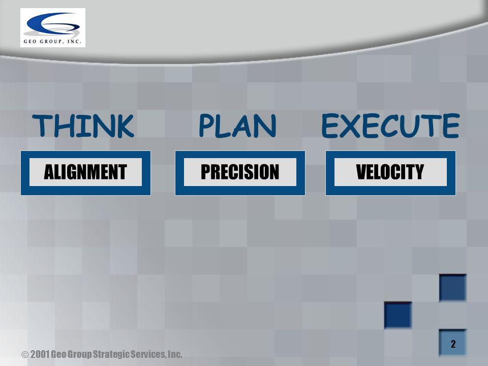 © 2001 Geo Group Strategic Services, Inc. 2 ALIGNMENTPRECISIONVELOCITY THINKPLANEXECUTE