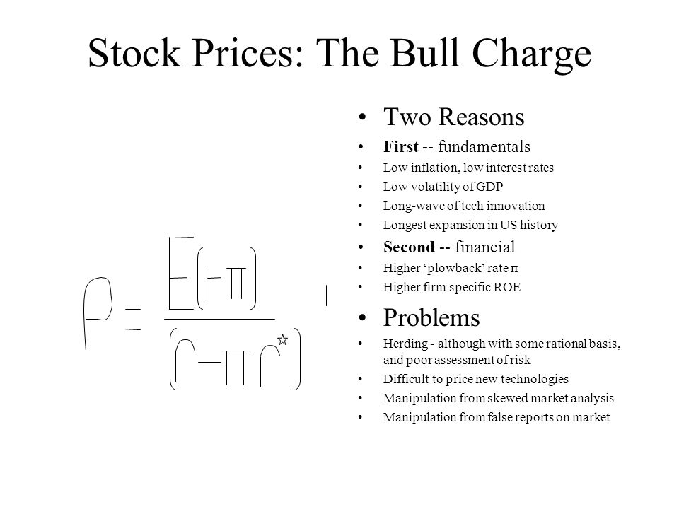 Stock Prices: The Bull Charge Two Reasons First -- fundamentals Low inflation, low interest rates Low volatility of GDP Long-wave of tech innovation Longest expansion in US history Second -- financial Higher 'plowback' rate п Higher firm specific ROE Problems Herding - although with some rational basis, and poor assessment of risk Difficult to price new technologies Manipulation from skewed market analysis Manipulation from false reports on market
