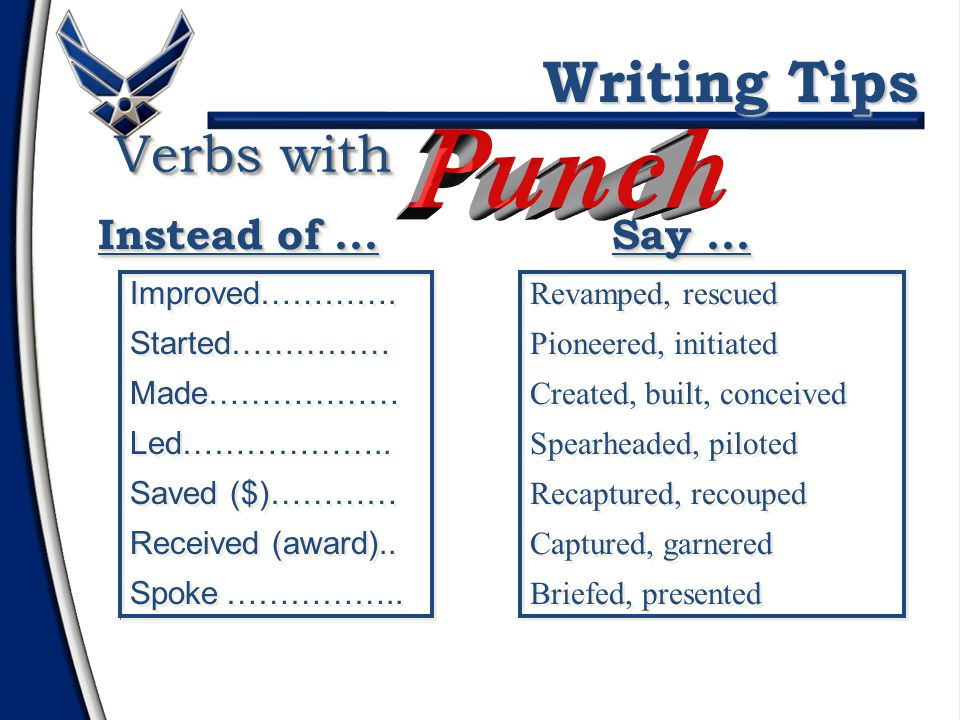 Use verbs, adverbs & adjectives with... Writing Tips