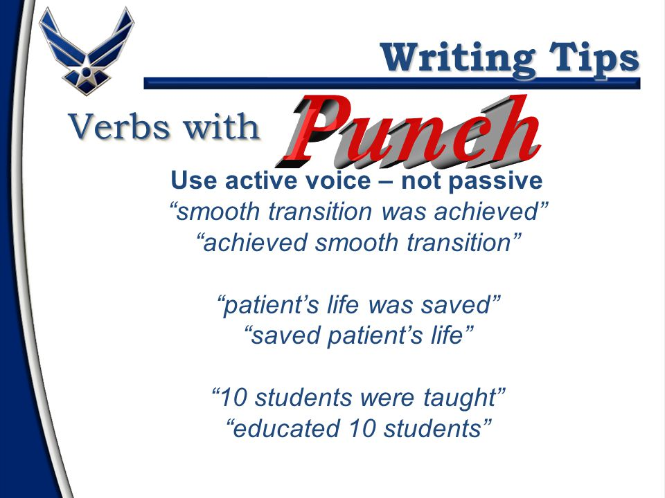 Verbs with Revamped, rescued Pioneered, initiated Created, built, conceived Spearheaded, piloted Recaptured, recouped Captured, garnered Briefed, presented Revamped, rescued Pioneered, initiated Created, built, conceived Spearheaded, piloted Recaptured, recouped Captured, garnered Briefed, presented Instead of...