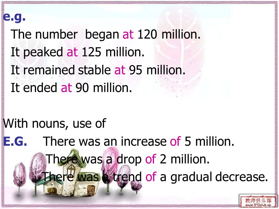 e.g. The number began at 120 million. It peaked at 125 million.