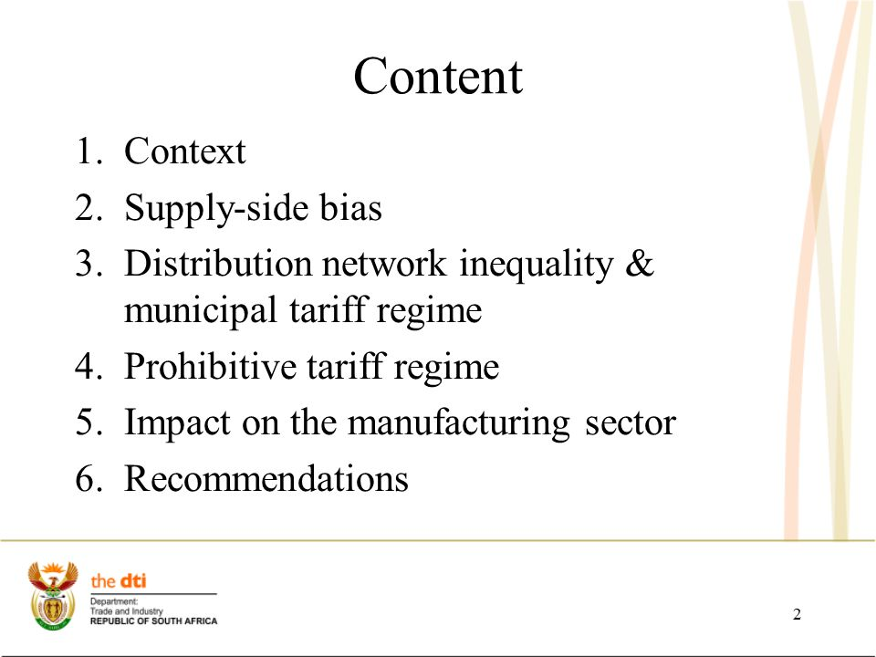 Context -Electricity neither function nor core competency of the Department of Trade and Industry.