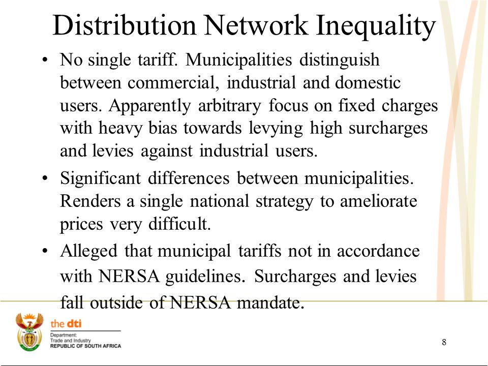 Distribution Network Inequality Some municipalities appear to be using electricity tariffs to generate revenue and cost recovery inefficiencies.