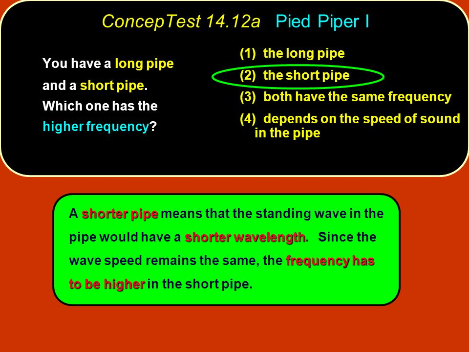shorter pipe shorter wavelength frequency has to be higher A shorter pipe means that the standing wave in the pipe would have a shorter wavelength. Si