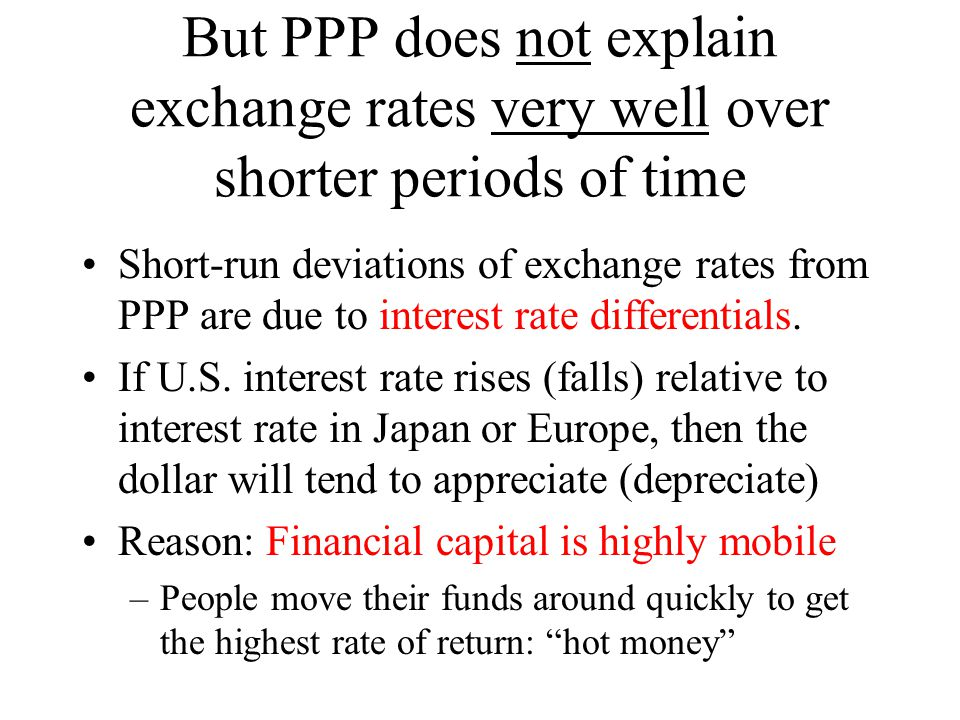 But PPP does not explain exchange rates very well over shorter periods of time Short-run deviations of exchange rates from PPP are due to interest rate differentials.