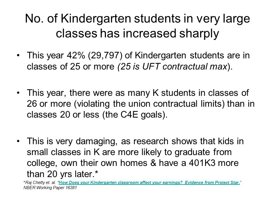No. of Kindergarten students in very large classes has increased sharply This year 42% (29,797) of Kindergarten students are in classes of 25 or more