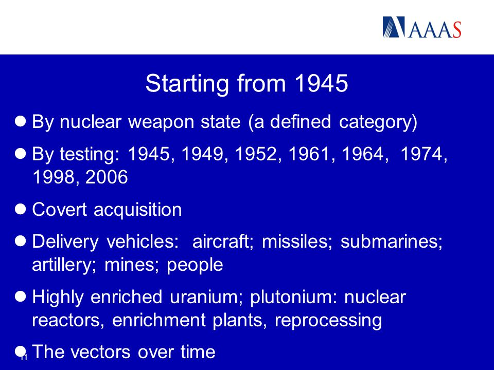 11 Starting from 1945 By nuclear weapon state (a defined category) By testing: 1945, 1949, 1952, 1961, 1964, 1974, 1998, 2006 Covert acquisition Delivery vehicles: aircraft; missiles; submarines; artillery; mines; people Highly enriched uranium; plutonium: nuclear reactors, enrichment plants, reprocessing The vectors over time