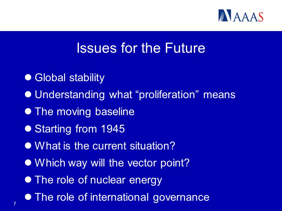 7 Issues for the Future Global stability Understanding what proliferation means The moving baseline Starting from 1945 What is the current situation.