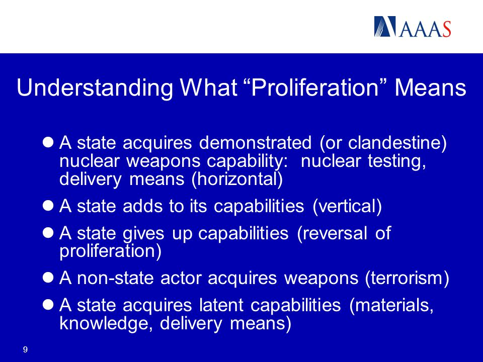 9 Understanding What Proliferation Means A state acquires demonstrated (or clandestine) nuclear weapons capability: nuclear testing, delivery means (horizontal) A state adds to its capabilities (vertical) A state gives up capabilities (reversal of proliferation) A non-state actor acquires weapons (terrorism) A state acquires latent capabilities (materials, knowledge, delivery means)