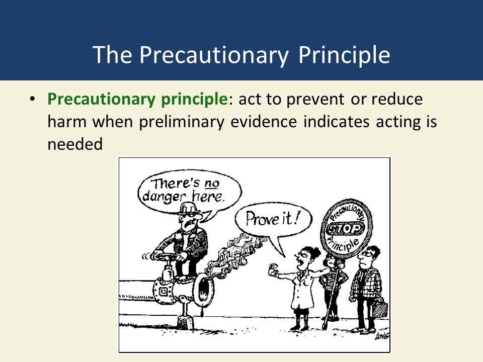 The Precautionary Principle Precautionary principle: act to prevent or reduce harm when preliminary evidence indicates acting is needed