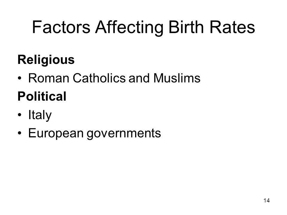 14 Factors Affecting Birth Rates Religious Roman Catholics and Muslims Political Italy European governments