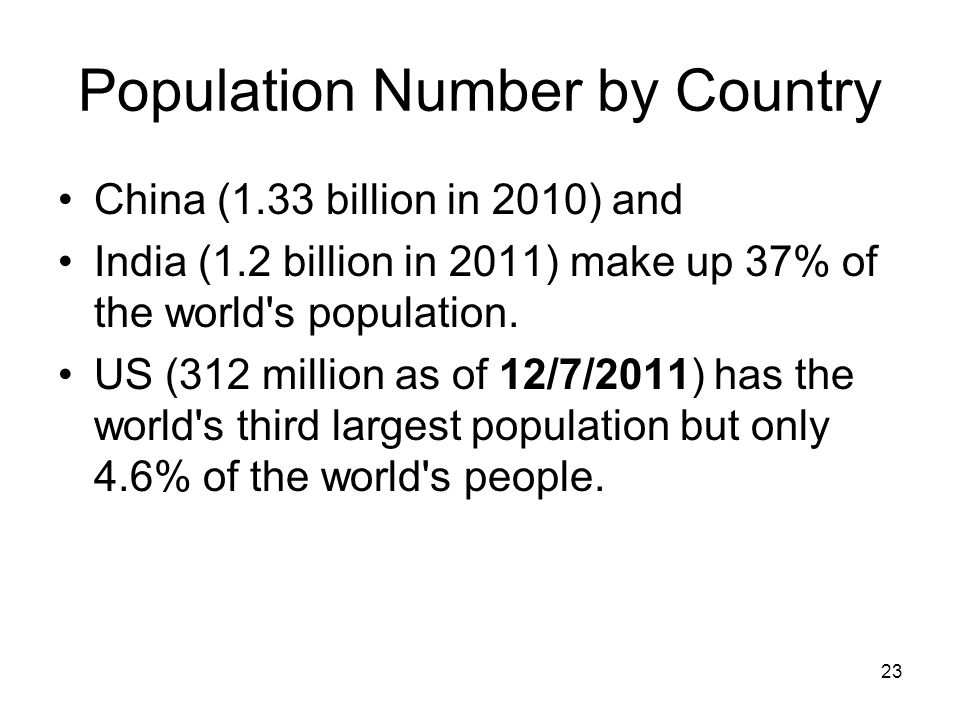 23 Population Number by Country China (1.33 billion in 2010) and India (1.2 billion in 2011) make up 37% of the world s population.