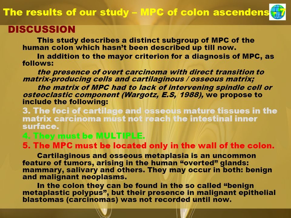 The results of our study – MPC of colon ascendens - 7 DISCUSSION This study describes a distinct subgroup of MPC of the human colon which hasn't been described up till now.