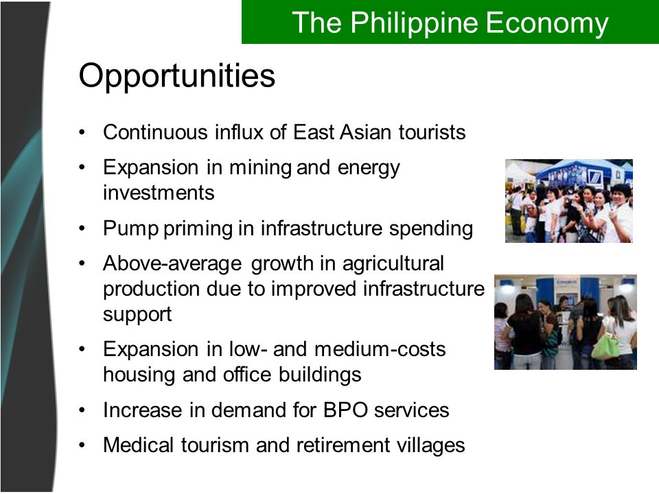 Opportunities Continuous influx of East Asian tourists Expansion in mining and energy investments Pump priming in infrastructure spending Above-average growth in agricultural production due to improved infrastructure support Expansion in low- and medium-costs housing and office buildings Increase in demand for BPO services Medical tourism and retirement villages The Philippine Economy