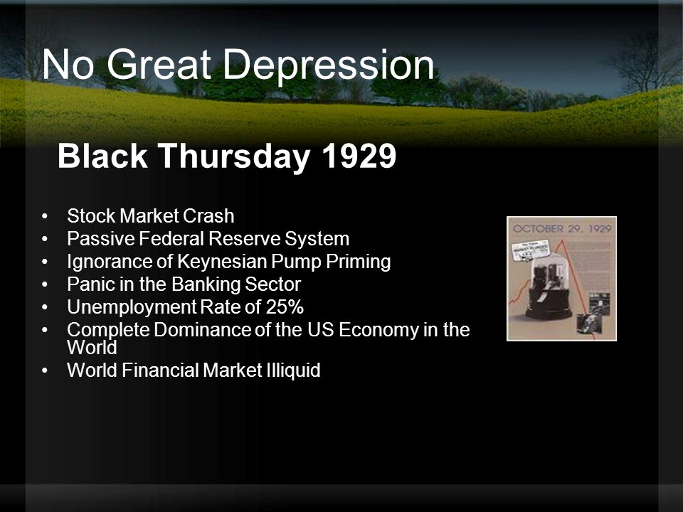 No Great Depression Black Thursday 1929 Stock Market Crash Passive Federal Reserve System Ignorance of Keynesian Pump Priming Panic in the Banking Sector Unemployment Rate of 25% Complete Dominance of the US Economy in the World World Financial Market Illiquid
