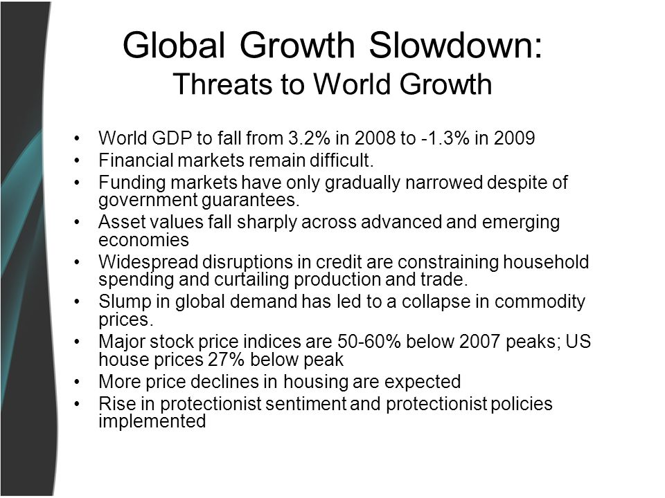 Global Growth Slowdown: Threats to World Growth World GDP to fall from 3.2% in 2008 to -1.3% in 2009 Financial markets remain difficult.