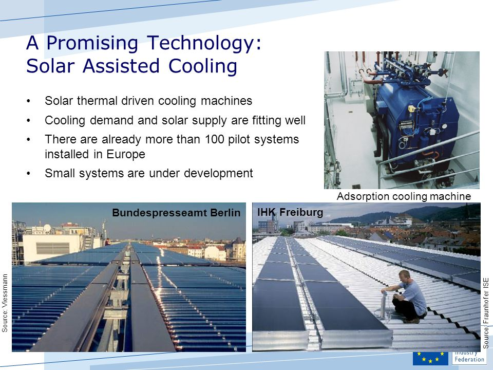 A Promising Technology: Solar Assisted Cooling Bundespresseamt Berlin Adsorption cooling machine Solar thermal driven cooling machines Cooling demand